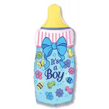 Фольгированный шар - Бутылочка для мальчика (голубая)