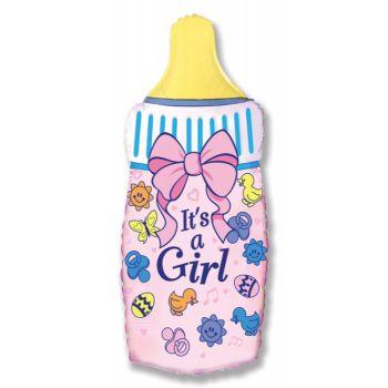 Фольгированный шар - бутылочка для девочки (розовая)