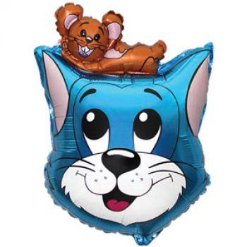 Шар фольгированный - Кот (Синий)