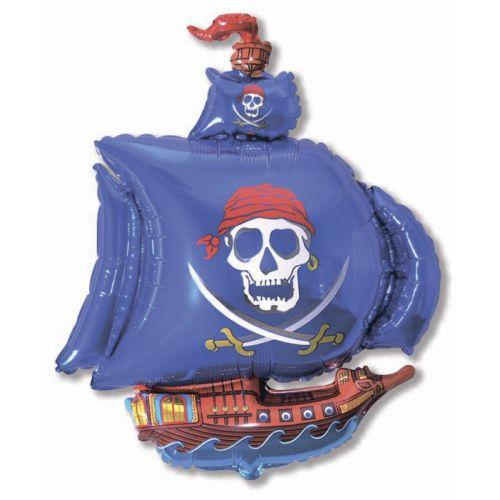 Фольгированный шар - Пиратский корабль (синий)