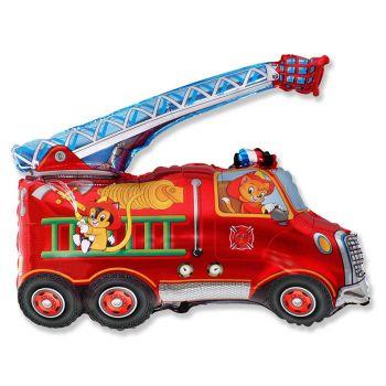 Фольгированный шар пожарная машина (красный)