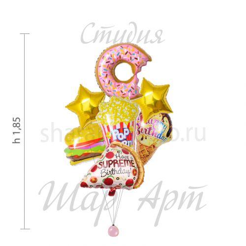 Шарики Пончики - набор шаров Перекус на день рождения