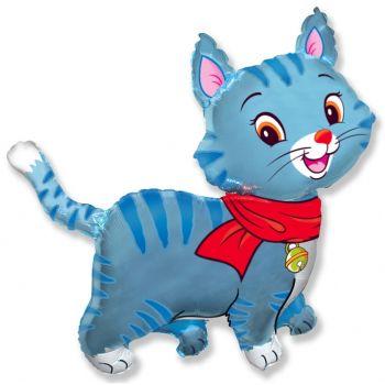 Фигура кошечка с шарфом голубая