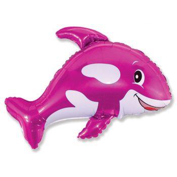 Фольгированный шар - Веселый кит (Фуксия, 89 см)