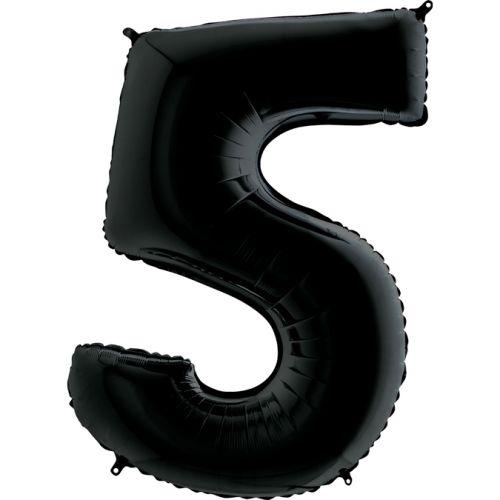 Фольгированная Цифра 5 чёрного цвета