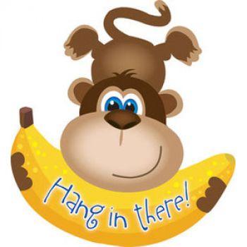 Обезьянка с бананом HANG IN THERE