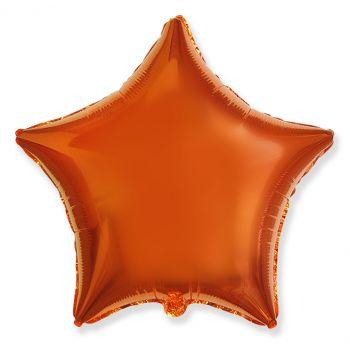 Фольгированная звезда оранжевая (сатин, 46 см)