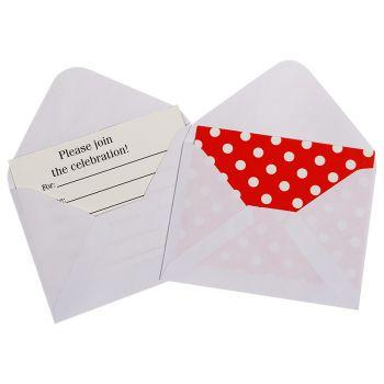 Пригласительные конверты, Точки, с конвертом, красный, 12 шт