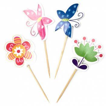 Пики для канапе Цветы и бабочки, 12 шт