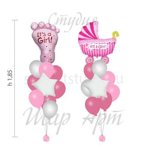 Набор шариков для новорожденных девочек на выписку