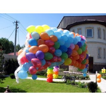 Сброс шаров без сетки «гроздь» 300 шаров, матовые, воздух (17 руб. за шар)
