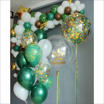 Оформление помещения шарами на 23 Февраля