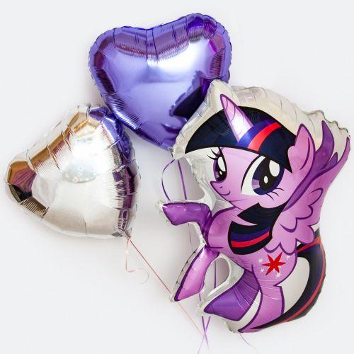 Набор шаров с искоркой и сердцами