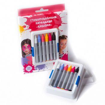 Гримировальные карандаши, Бабочки, 6 цветов