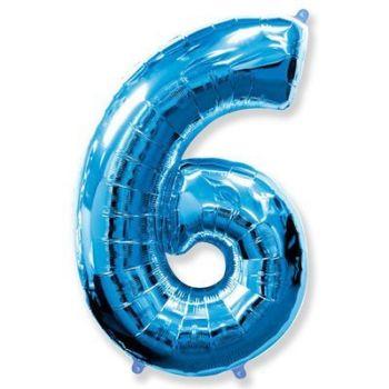 Фольгированная Цифра 6 (синяя)