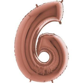 Фольгированная Цифра 6 (розовое золото)