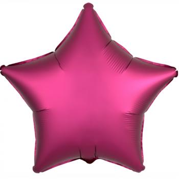 Фольгированная звезда Гранатовый сатин (46 см)