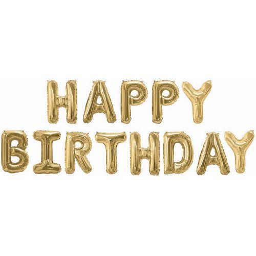 "Набор шаров Надпись ""Happy Birthday"" 41 см) Золото"