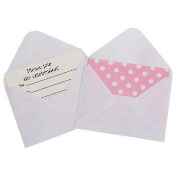 Открытка пригласительная, Точки, с конвертом, розовый, 12 шт
