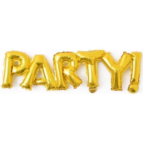 """Надпись """"Party"""" из шариков фольга (золото, длинна 107 см)"""