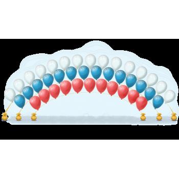 Цепочка из гелиевых шаров в три ряда