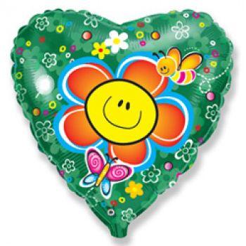 """Фольгированное сердце """"Цветок зелёный"""" (46 см)"""