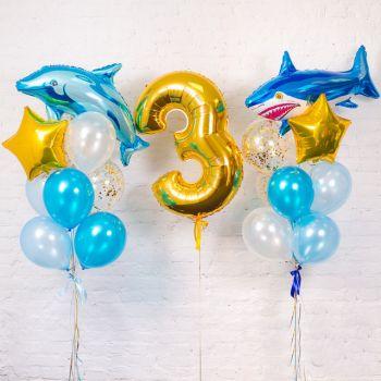 2 связки шаров и цифра 3