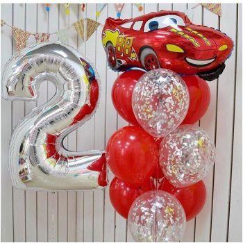 Набор шаров красного цвета и цифра 2