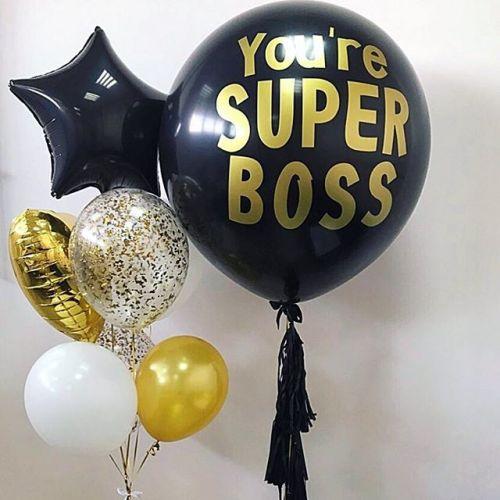 Связка из воздушных шаров Super boss на день рождения