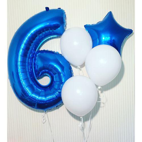 Связка латексных шаров и звезды вместе с цифрой 6