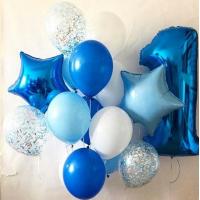 Набор шаров синего и белого цвета