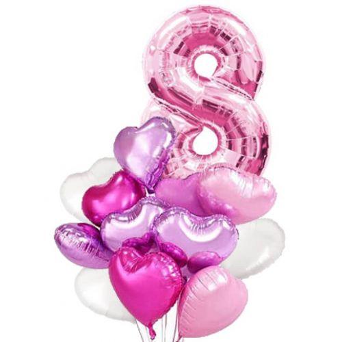 Сочетание разных тонов шаров розового цвета