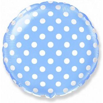 Фольгированный круг (46 см) Белые точки Голубой