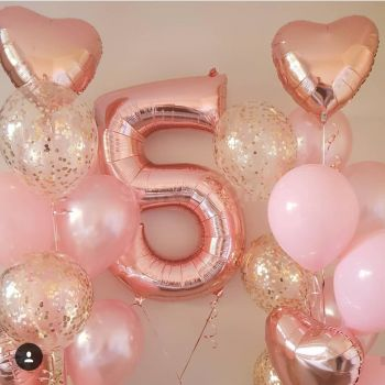 Набор шаров розовое золото и цифра 5