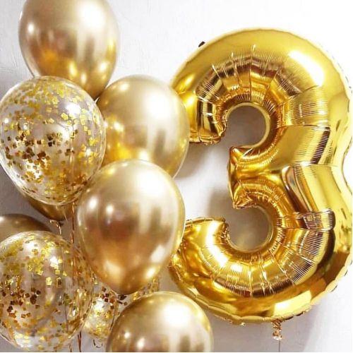 Хромовые шары золото и цифра 3 золото металлик с грузиком