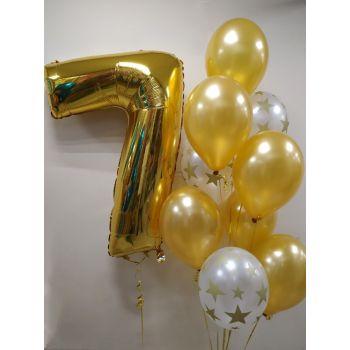 Золотистые шары на 7 день рождения