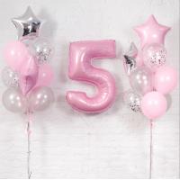 Набор нежно розовых шаров перламутр и цифра 5
