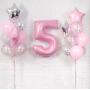 Композиция розовых и белых шаров металлик на день рождения