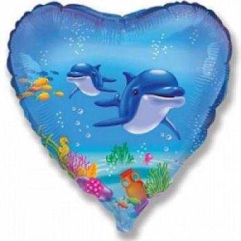 Фольгированное сердце (46 см) Дельфин