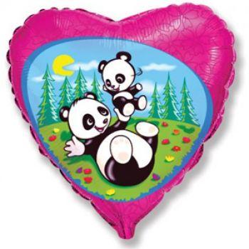 """Фольгированное сердце """"Забавная панда"""" (46 см)"""