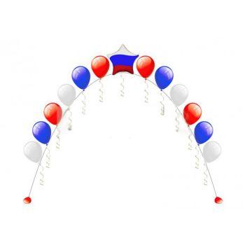 Цепочка из 15 латексных шаров и одной звезды цвета Триколор