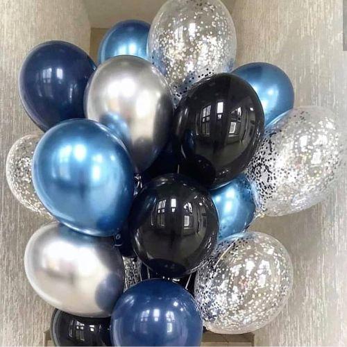 Шарики с утяжелителем синий хром, чёрные и серебристые с конфетти