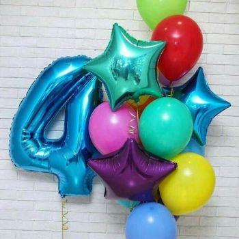 Набор шаров и синяя цифра 4