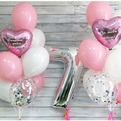 Фото сетов из шаров на 7 день рождения девочке