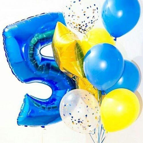 Метровая цифра из фольги 5 и связка синих шаров
