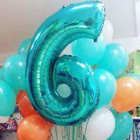 15 шаров и цифра 6 цвета тиффани