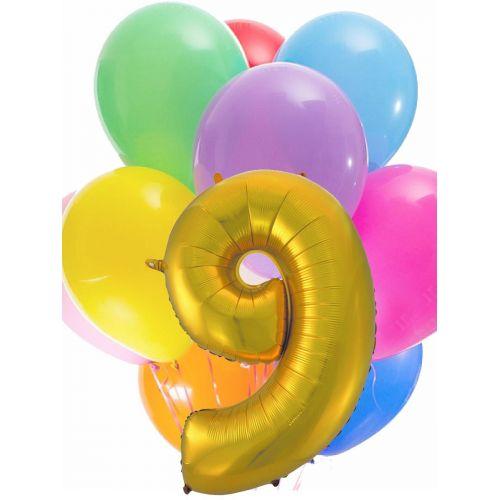 Куча шаров под потолок и шар цифра 9 на день рождения