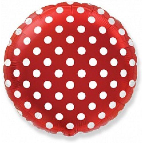 Фольгированный круг (46 см) Белые точки Красный