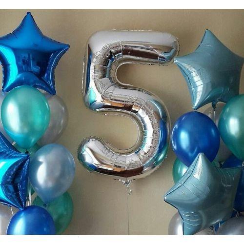 Набор шаров с серебристой цифрой 5
