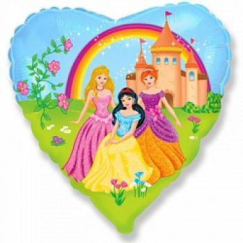 """Фольгированное сердце (46 см) """"Замок принцессы"""""""